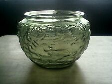 Vintage Green Crinkle Glass Bowl E O Brody Co. Cleveland Ohio G 108