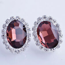 Womens White Gold Filled Red wine Big Oval Crystal vintage Stud Earrings