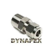 "Compression 1/4"" Tube OD x 1/8"" NPT Male Pipe 316 Stainless Steel Fitting LOK-3C"