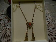 "Victorian c. 1890 Carved Coral Cameo 14K Yellow Gold 17"" Double Tassel Necklace"