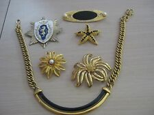 Estate Costume 6 Piece Craft Lot Gold Tone Pins Necklace Monet