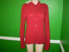 NEW NWT SILK DONCASTER BLOUSE SEMI SHEER $180 RED HOT 4 SMALL