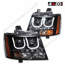 Anzo U-BAR Style Projector Headlights Black 2007-2013 Tahoe Suburban Avalanche