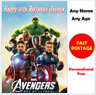 Personalised AVENGERS Birthday Card. Any name & age Marvel Heroes boy son gift