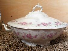 Habsburg China Vegetable Bowl w/ Lid Pink Roses Embossed Gold Trim Pattern 9330