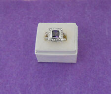PURPLE CZ PRINCESS CUT COCKTAIL RING - CLEAR CZ ACCENTS - ROPE BAND - SIZE 7