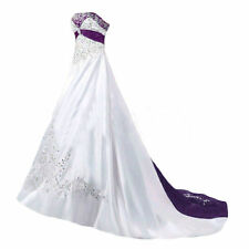 White And Purple Satin Wedding Dresses Plus Size Embroidery Beaded Bridal Gown