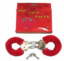 RED DOUBLE CHAIN FUR LINED HANDCUFFS novelty gag joke metal cuffs costume new