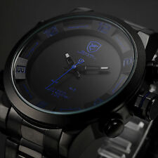 New Men's SHARK Black Blue LED Date Day Stainless Steel Alarm Quartz Sport Watch