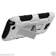 Samsung Galaxy Note II 2 Hybrid C Armor Case Skin Cover w/ Stand White Black