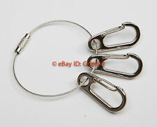 """Aircraft Wire Cable Mechanics Keyring + 3x 1.25"""" Clips Tactical EDC Gear Lanyard"""