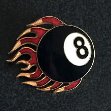 FLAMING 8 BALL ENAMEL PIN BADGE TATTOO ART BIKER POOL