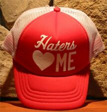 HATERS LOVE ME Ball Cap Cotton Hat Adjustable Snapback Red White Mesh DEFECTS