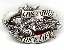 LIVE TO RIDE AMERICAN EAGLE MOTORCYCLE BELT BUCKLE RIDE TO LIVE