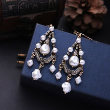 NEW ZARA BEAUTIFUL WHITE BAROQUE PEARLS 3'' DROP DANGLE EARRINGS NEW