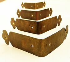SET 4...brass corner guard Antique trunk treasure chest salvage furniture piece