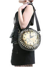 BANNED BROWN BLACK STEAMPUNK GOTHIC LARGE ROUND CLOCK SHOULDER HANDLE HAND BAG