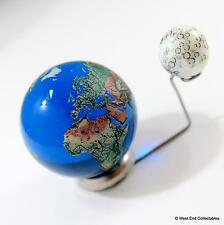 To Scale: 35mm Planet Earth Globe & 12mm Moon Marble + Elevated Stand - Orrery
