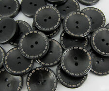 """50pcs 1"""" 25mm 4-Holes Black Wood Sewing Buttons For Craft Scrapbooking Buttons"""