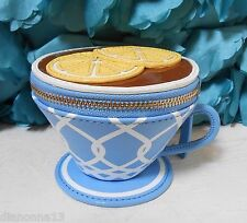 NWT Kate Spade Down The Rabbit Hole Teacup Coin Purse Wallet Lemon Blue NEW
