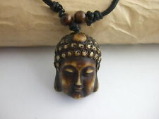 Black Wax Cotton Cord with Resin RELIGIOUS BUDDIST BUDDHA HEAD PENDANT NECKLACE