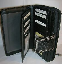 Rolfs Zip Around Checkbook Organizer Photo Holder Wallet Black Croc Faux Leather