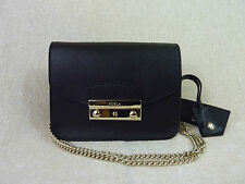 NWT FURLA Onyx Black Saffiano Leather Baby Julia Chain Shoulder Bag - $298