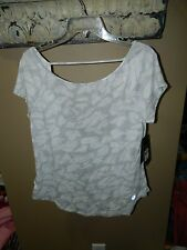 Asics Womens Slub Athletic Short Sleeve Top Shirt White Gray Sz S NWT