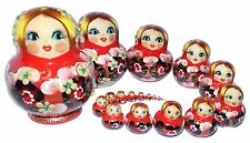 WITH DEFECT 20 HAND MADE RUSSIAN NESTING MATRYOSHKA BABUSHKA DOLLS 14cm/5.6'/RED