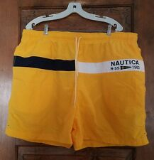 Mens NAUTICA Yellow N-SS 1983 Mesh Lined 100% Nylon Swim Trunks Vtg Sz XXL