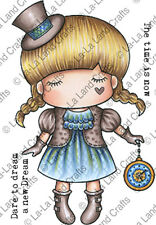New La La Land Crafts PAPER DOLL MARCI Cling Rubber Stamp Girl Watch Time Dream