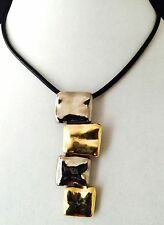 Chico's Pendant Necklace Hammered Silver & Gold Black Cord NWOT 12F