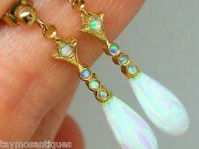 9k gold 9ct gold Art Deco design fiery opal dropper earrings