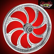 "Harley Davidson 21"" inch Custom Chrome Front Wheel ""Slasher"" FTD Customs"