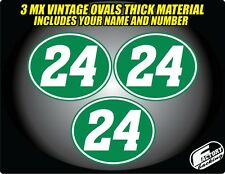 Vintage mx Custom Pre Printed Number plate Backgrounds Ovals GREEN WHITE PIN