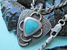 Vintage Old Pawn Turquoise and Sterling Silver Pendant on a 925 Silver Necklace