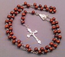 Rosary Necklace DARK BROWN Wood Bead w Silver Crucifix & Chain Nice Gift!