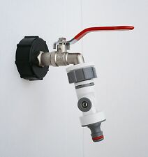 "IBC CAP (2""-S60) & BRASS LEVER TAP 1/2"" to FULLY ADJUSTABLE Snap On Connector"
