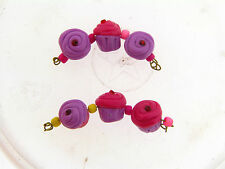 US Artisan Lavender & Deep Pink Sculpted Yummy Cupcake Polymer Clay Bead Set
