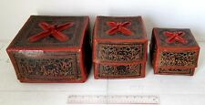 Old Set 3 in 1 Bagan Lacquerware Buddhist Monk Offering Boxes Elephant Design