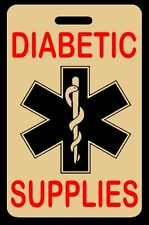 Tan DIABETIC SUPPLIES Luggage/Gear Bag Tag - FREE Personalization - New