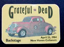 Grateful Dead Backstage Pass Vintage Classic Car New Haven Connecticut 4/23/1984