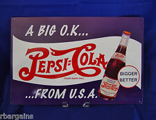 Pepsi Cola A Big OK From USA Soda Metal Tin Bar Sign Vintage Style Retro Decor