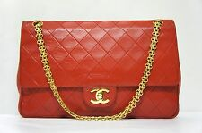 VINTAGE CHANEL Red Lambskin Leather Classic Double Flap Shoulder Bag A114