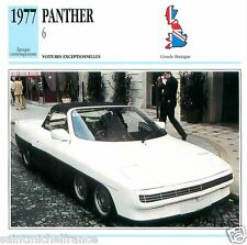 PANTHER 6 1977  CAR VOITURE GREAT BRITAIN GRANDE BRETAGNE CARTE CARD FICHE
