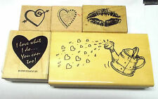 Love Valentines Rubber stamp lot Assortment Hearts lips watering can PSX Anitas