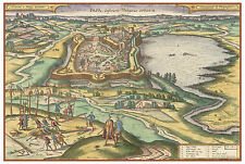 Pápa Veszprém Hungary bird's-eye view map Braun Hogenberg ca.1617