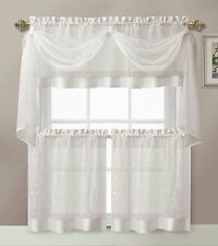 White Linen Leaf Embroidered Kitchen Curtain Tiers Valance Scarf Set