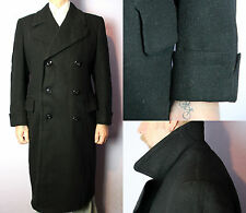 SALE 30's 40's Dark Grey Heavy Barathea Wool Fitted Winter Over Coat UK 46
