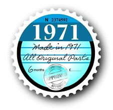Retro 1971 Tax Disc Disk Replacement Vintage Novelty Licence Car sticker decal
